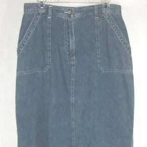 FADED GLORY skirt 100% Cotton Denim Blue Jean Maxi